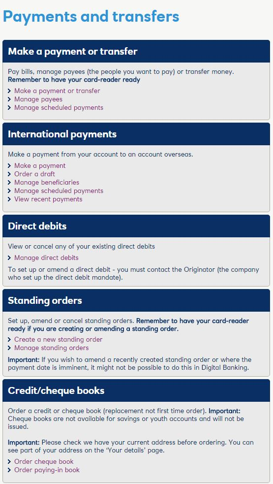 RBS Payments and Transfers
